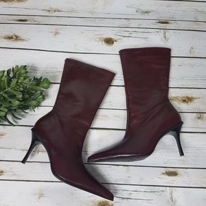 ALDO Burgundy Leather Mid Calf Boots NWOB